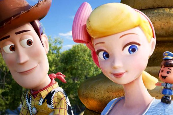 Woody (voiced by Tom Hanks) and Bo Peep (Annie Potts) reunite in