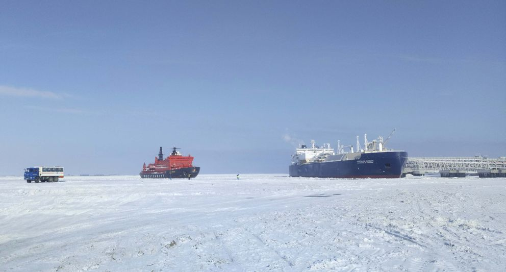 The Christophe de Margerie (R), an ice-class tanker fitted out to transport liquefied natural gas, is docked in Arctic port of Sabetta, Yamalo-Nenets district, Russia March 30, 2017. (Olesya Astakhova / Reuters)