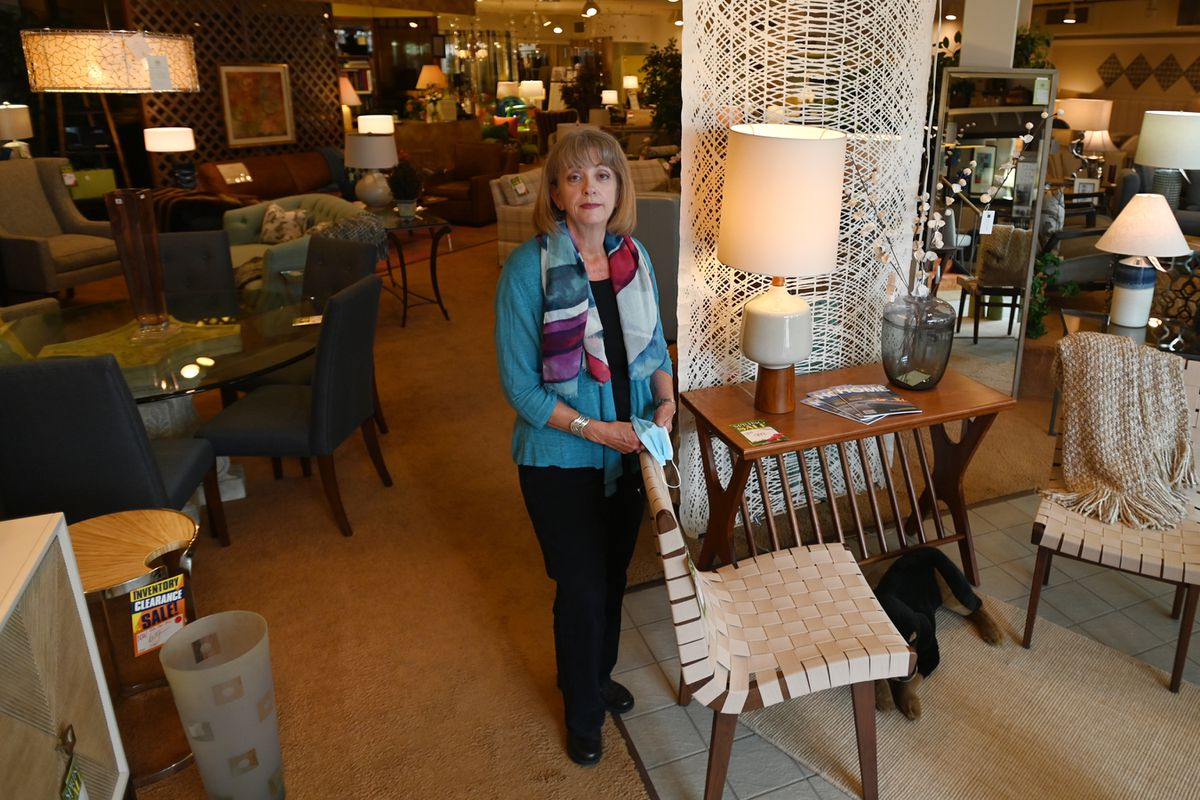 Furniture Classics owner Colleen Hickey at her store on 5th Avenue on Tuesday, June 16, 2020. (Bill Roth / ADN)
