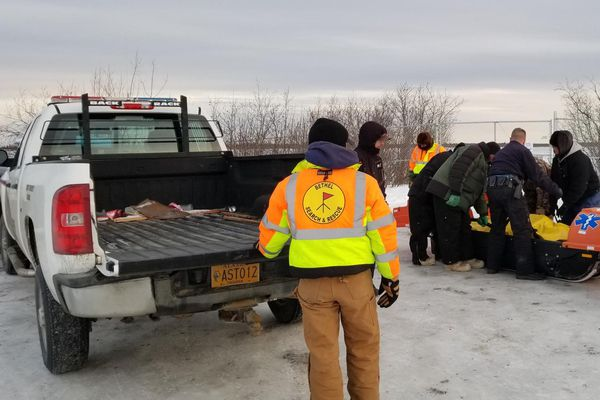 Bethel Search and Rescue releases Mark Kasayulie's body to the Alaska State Troopers near Bethel's Hangar Lake on the afternoon of January 1, 2018. Credit Perry Barr / Bethel Search and Rescue