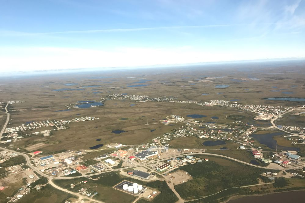 Bethel, Alaska, is seen from the air on Aug. 21, 2017. (Lisa Demer / ADN)