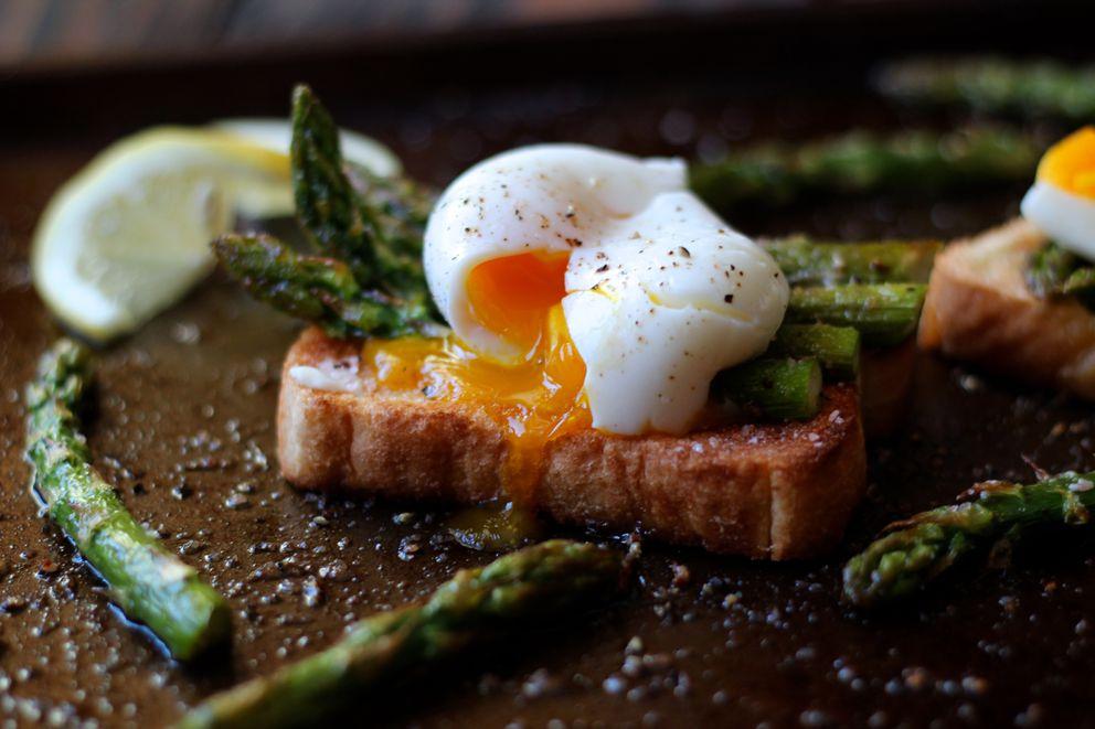 Soft-boiled egg on asparagus toast (Photo by Maya Wilson)