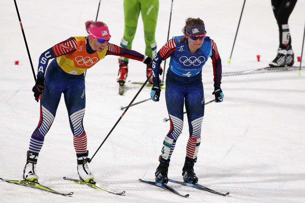 Cross-Country Skiing - Pyeongchang 2018 Winter Olympics - Women's 4x5km Relay - Alpensia Cross-Country Skiing Centre - Pyeongchang, South Korea - February 17, 2018 - Kikkan Randall of the U.S. and Jessica Diggins of the U.S. compete. REUTERS/Carlos Barria