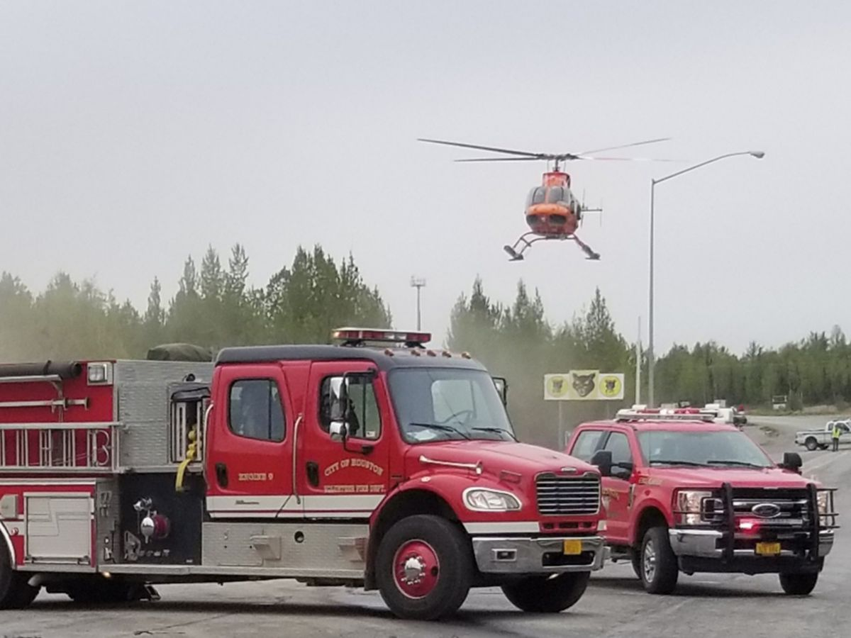 A fatal accident the afternoon of Thursday May 23 2019 at the intersection of Big Lake Road and the Parks Highway drew a large emergency response. (Photo courtesy Houston Fire Department)