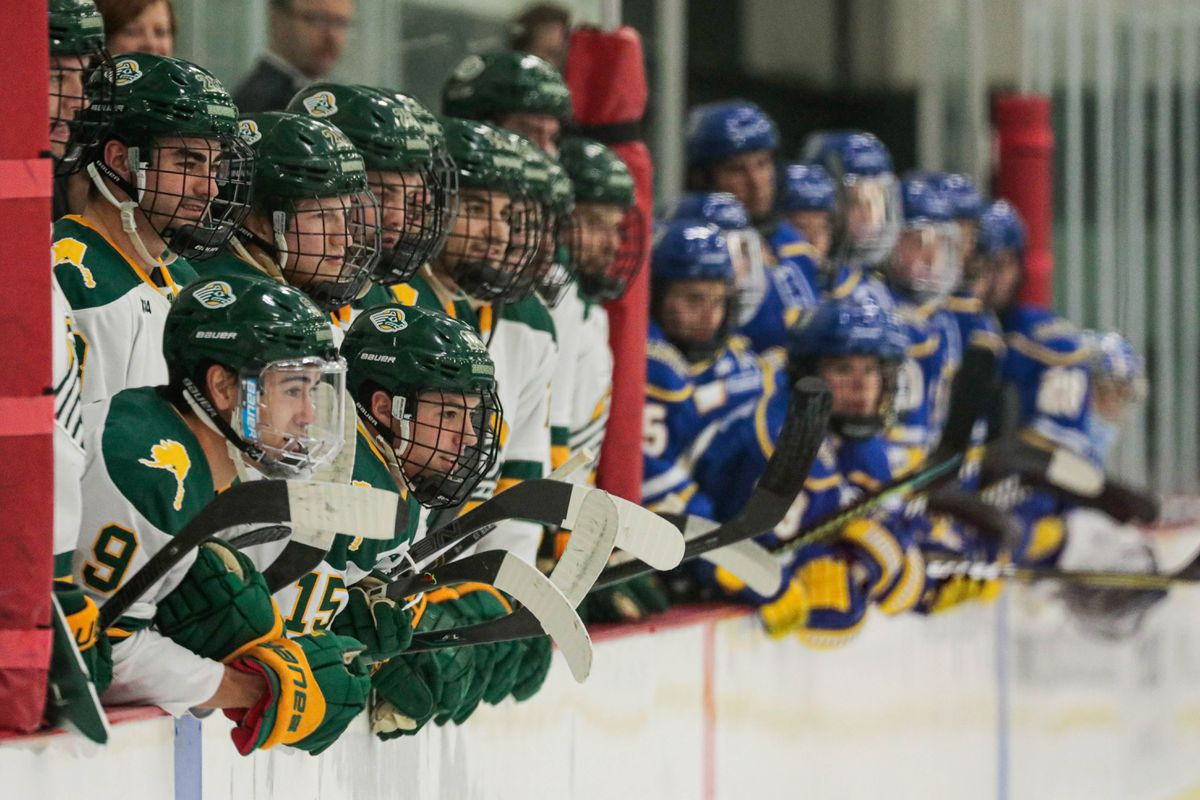 UAA and UAF team members watch the action during a hockey game last month at the Seawolf Sports Complex. (Loren Holmes / ADN)