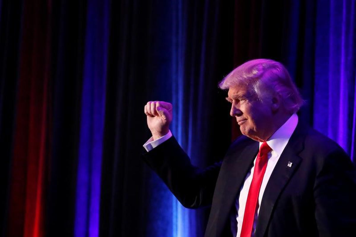 Republican presidential nominee Donald Trump arrives for his election night rally at the New York Hilton Midtown in Manhattanearly Wednesday. (Andrew Kelly / Reuters)