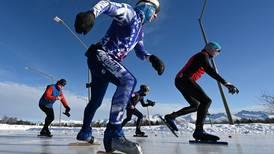 Photos: Speedskaters race on Cuddy Park ice in Midtown Anchorage
