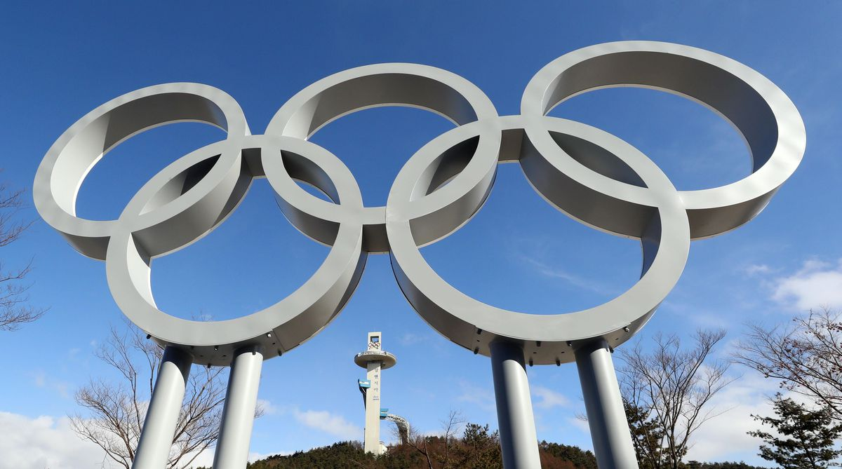 The Olympic rings with Pyeonchchang's Alpensia Ski Jumping Center in the background. (Rob Schumacher-USA TODAY Sports)