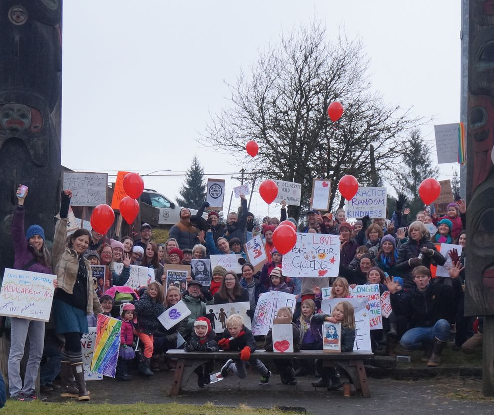 Over 100 people showed up for the Petersburg's Women March, also called the March for Love. It was organized locally by Erin Kandoll, Chelsea Tremblay and Malena Marvin. (Mary Koppes)