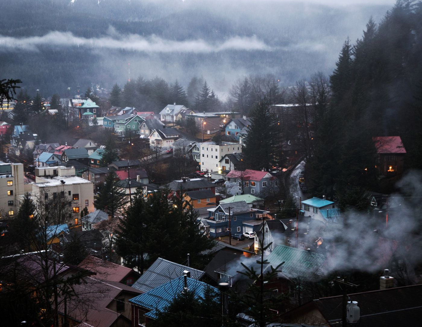 Clouds hang low over a residential area near downtown Juneau on January 17, 2017. (Marc Lester / Alaska Dispatch News)
