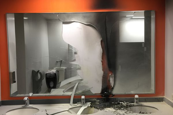 The Anchorage transit center bathrooms are closed after a man tried to start a fire in one of them Wednesday, Feb.14, 2018. (Andrew Halcro)
