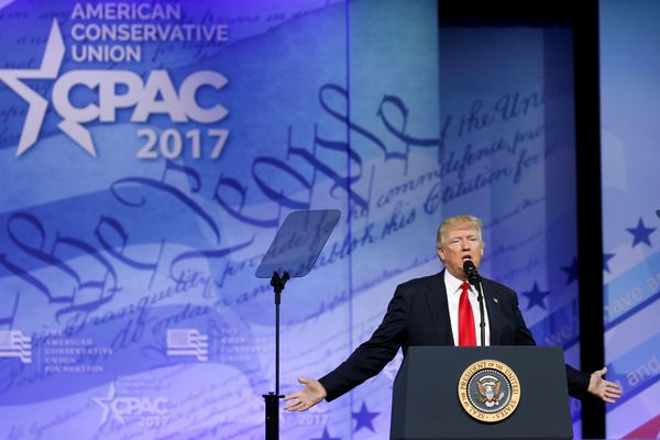 U.S. President Donald Trump speaks at the Conservative Political Action Conference, or CPAC, in Oxon Hill, Maryland, U.S., February 24, 2017. REUTERS/Kevin Lamarque