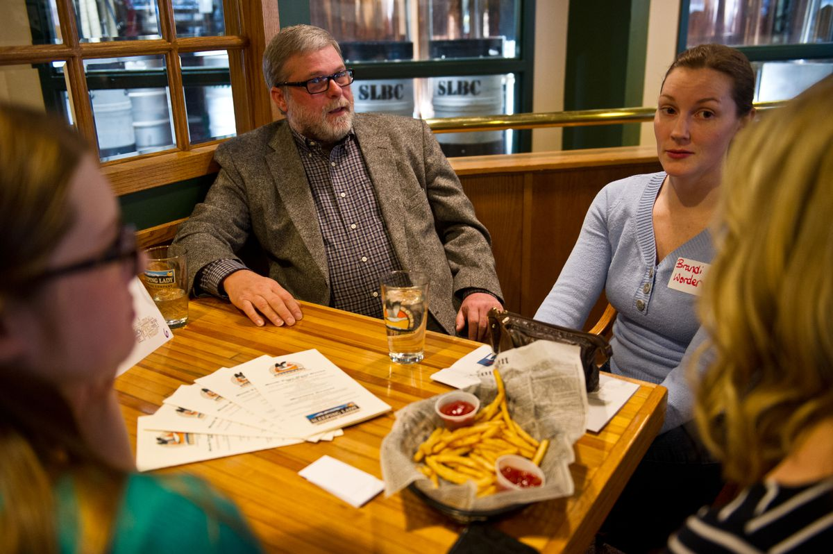 Timothy Huit speaks to prospective voters during his 2015 run for Anchorage mayor. Huit, now a candidate for House District 23, was accidentally left out of the state's election pamphlet. The Division of Elections has apologized and is sending a mailing to some Anchorage residents. (Marc Lester / ADN)