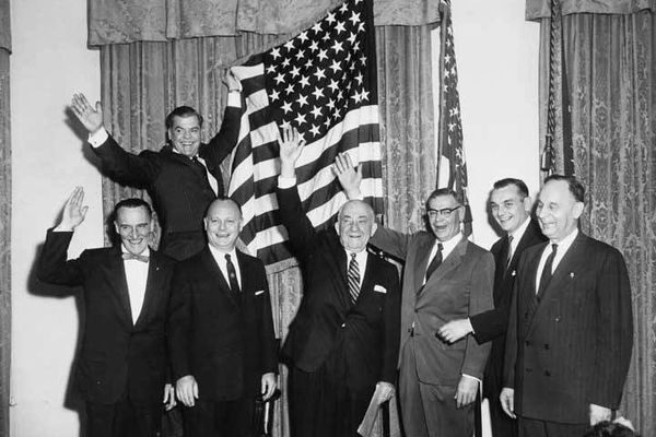 OPINION: Alaska's territorial history includes a fierce battle over income taxes that Gov. Ernest Gruening eventually won - once an electoral house cleaning provided lawmakers who were more than puppets. Pictured, Gruening, center under flag, celebrates Alaska Statehood.