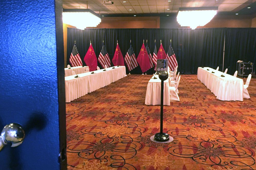 U.S. and China flags were set up in the Hotel Captain Cook in advance of high-level diplomatic meetings scheduled to begin Thursday afternoon in Anchorage. (Alex DeMarban / ADN)