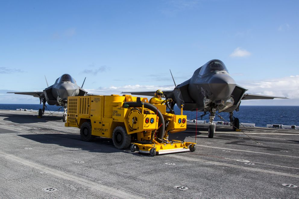 A Triverus machine works on board the new USS America, with F-35 aircraft, Nov. 1, 2016. (Triverus)
