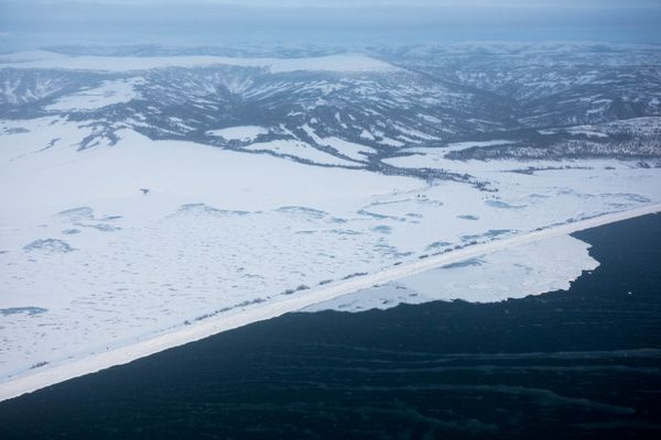 The coastline south of Shaktoolik, with open water along the shore, on Monday, March 12, 2018. (Loren Holmes / ADN)
