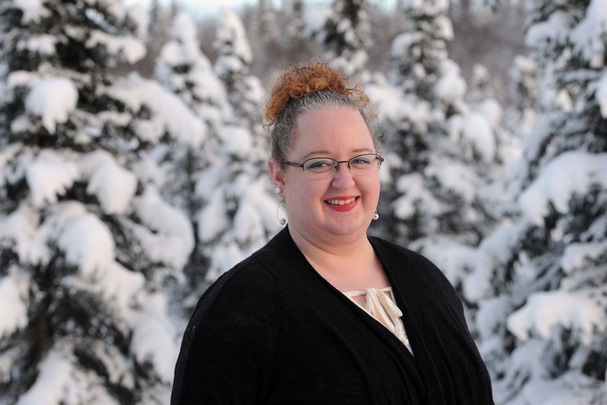 Katherine Irwin, who is graduating with a bachelors degree in journalism and public communications with a minor in art, will be the first deaf student commencement speaker at UAA during the commencement ceremony at the Alaska Airlines Center on Sunday. (Bill Roth / ADN)