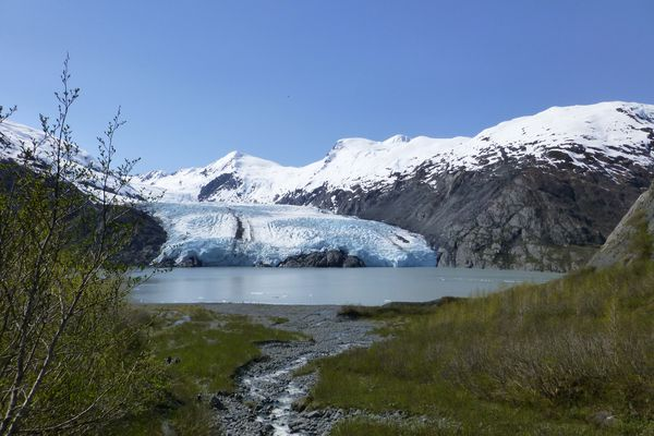 Portage Glacier, just before the trail's last descent to the beach.