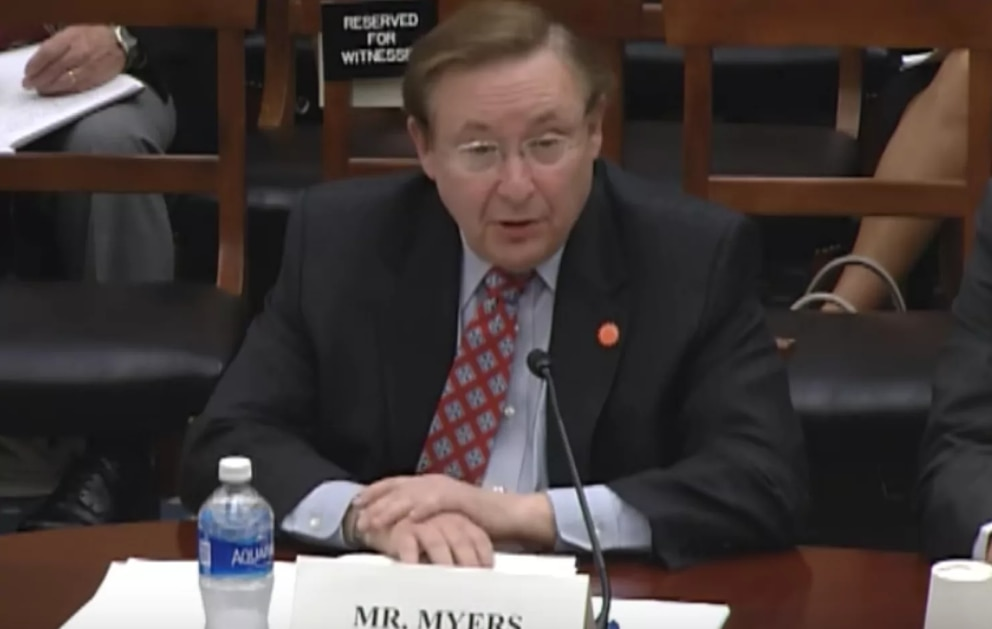 AccuWeather chief executive Barry Myers testifies at a House Science Committeee Hearing, June 8, 2016. (House Science Committee hearing image)