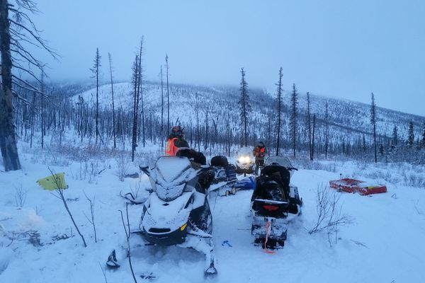 Pictured: Wilderness Search and Rescue personnel in the field on Feb. 24, 2015, during an eventually succesful search for two Fairbanks hunters reported late to return from a caribou hunt.
