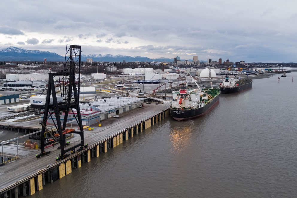 Tankers Atalanta T and Atlantic Frontier offload a combined 525,000 barrels of jet fuel at the Port of Alaska on Nov. 16, 2018. (Loren Holmes / ADN)