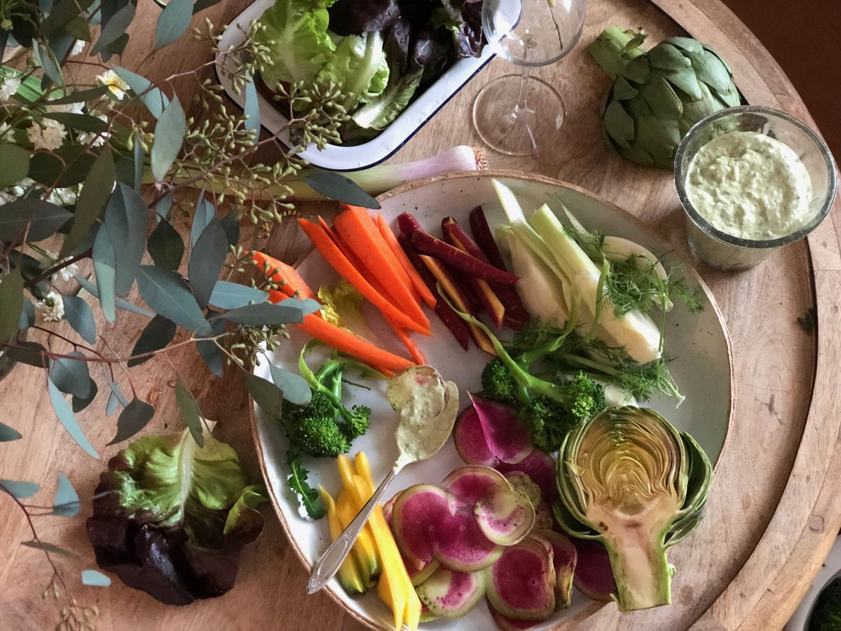 A vegetable platter served with avocado Green Goddess dip (Kim Sunée)