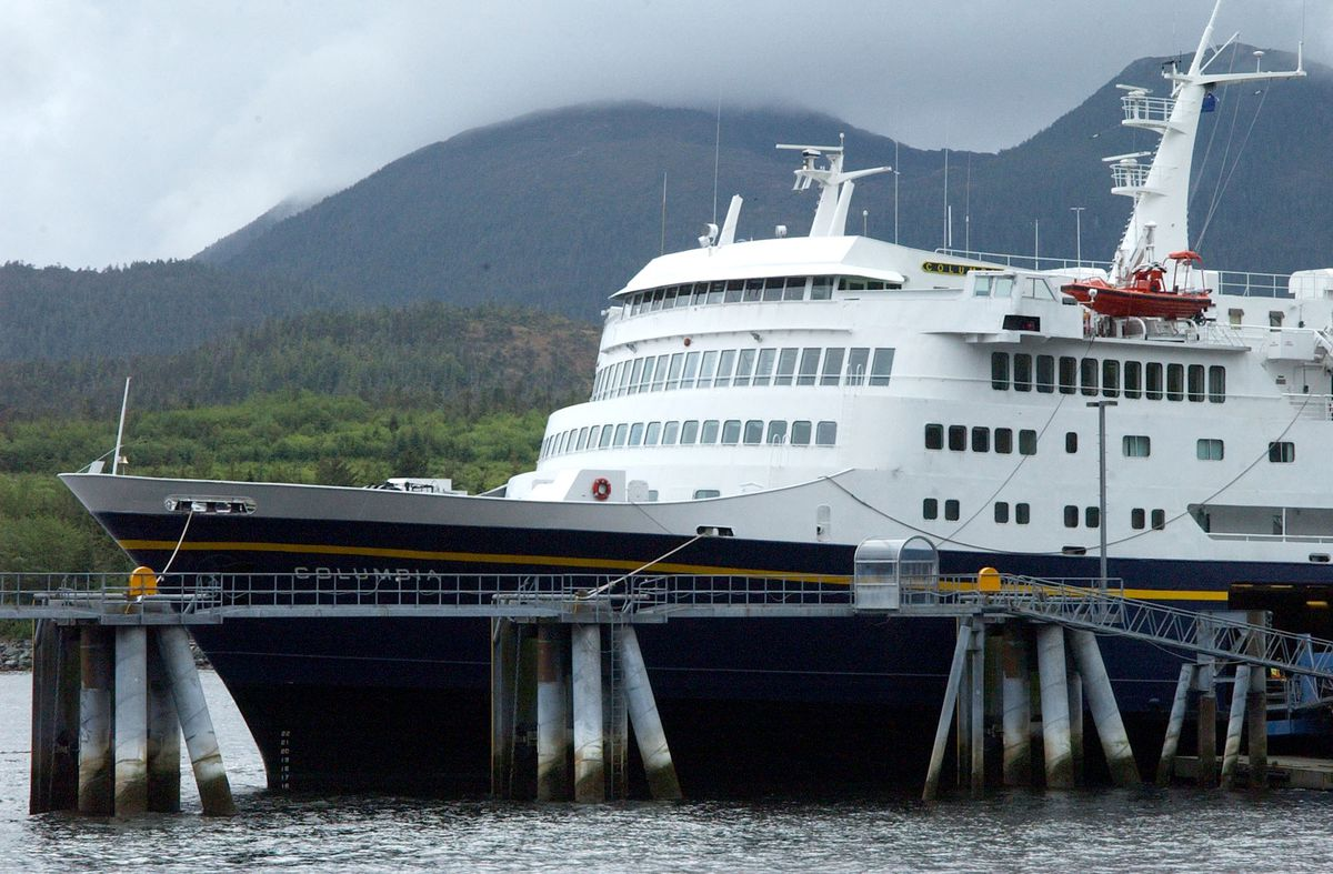 The state ferry Columbia sits tied up outside the Ketchikan Marine highway ferry terminal in 2003. (AP Photo/Ketchikan Daily News, Hall Anderson)