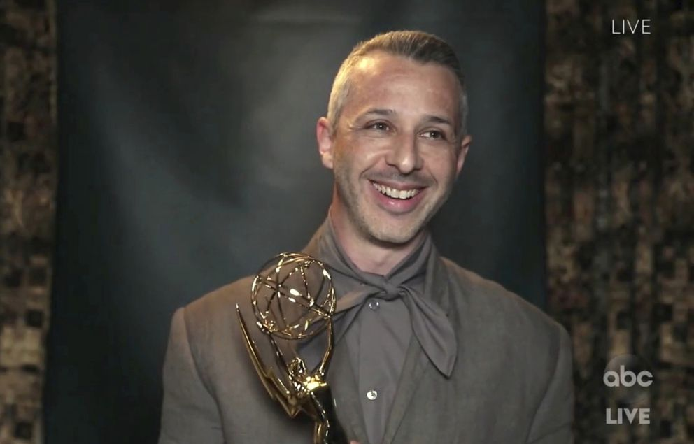 In this video grab captured on Sept. 20, 2020, courtesy of the Academy of Television Arts & Sciences and ABC Entertainment, Jeremy Strong accepts the award for outstanding lead actor in a drama series for 'Succession ' during the 72nd Emmy Awards broadcast. (The Television Academy and ABC Entertainment via AP)