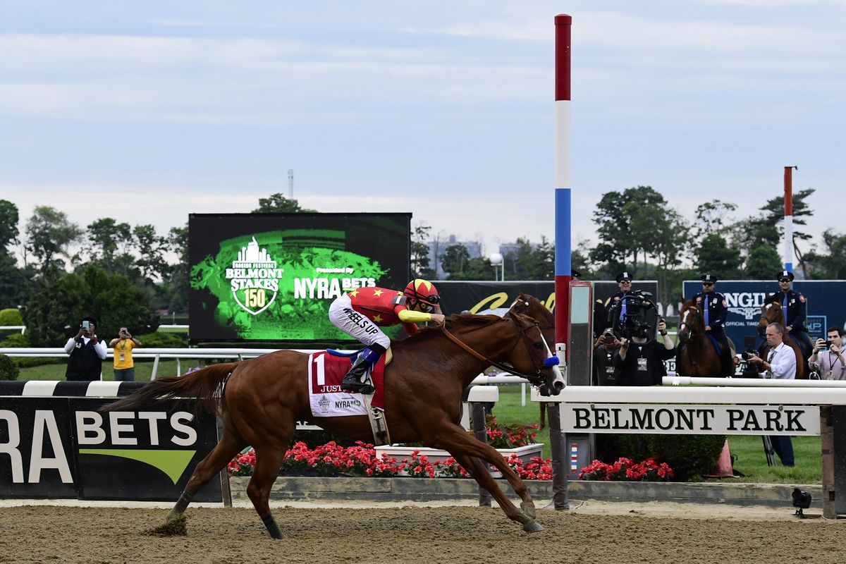 Mike Smith aboard Justify wins the 150th Belmont Stakes on Saturday at Belmont Park. (Tommy Gilligan / USA TODAY Sports)
