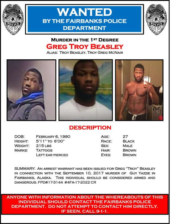 Fairbanks police released this wanted bulletin for Greg Troy Beasley, 27, suspected in a stabbing death on Sunday. (Fairbanks Police Department)