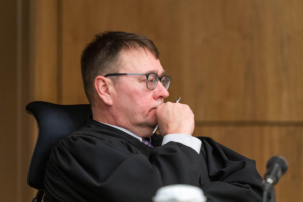 Superior Court Judge Eric Aarseth listens to arguments Friday in Anchorage Superior Court. (Loren Holmes / ADN)