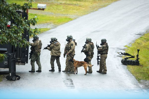 Anchorage Police Department SWAT team members approach a barricaded subject on Rancho Drive in south Anchorage Friday, Aug. 11, 2017. Two people were found dead after the standoff, which lasted from Thursday night into Friday morning. (Loren Holmes / Alaska Dispatch News)