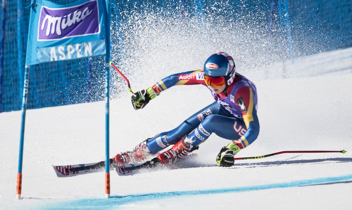 Mikaela Shiffrin of the U.S. heads to the finish line during her first of two runs in the Women's Giant Slalom race during the FIS World Cup in Aspen, Colo., March 19, 2017. (Doug Mills/The New York Times file)