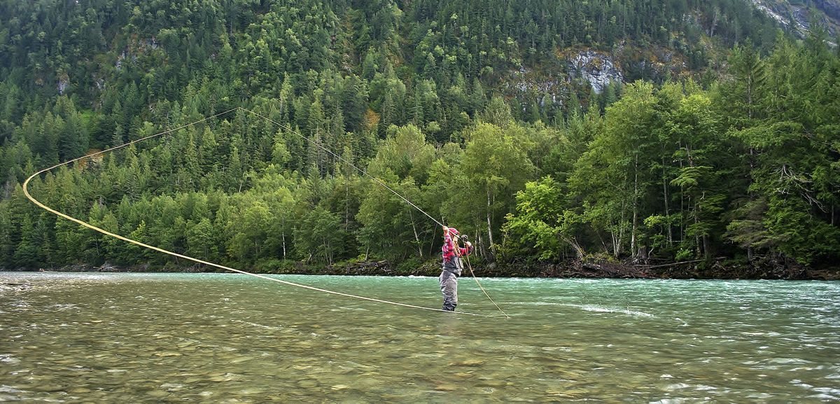 A handout photo of April Vokey fishing in British Columbia.  (Adrienne Comeau via The New York Times)