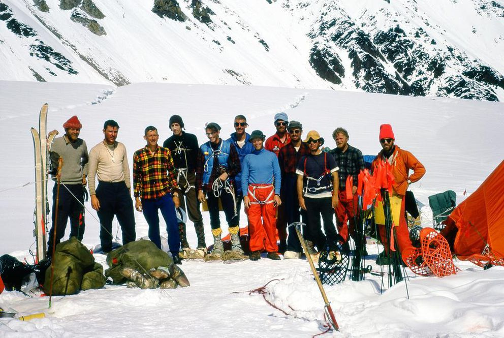 The Wilcox Expedition members took advantage of the sunny weather on the Muldrow Glacier valley to pause for a group photo on the Fourth of July, 1967. From left to right: Steve Taylor, Joe Wilcox, Howard Snyder, Dennis Luchterhand, Mark McLaughlin, Paul Schlicter, Jerry Clark, Jerry Lewis, Anshel Schiff, Hank Janes, John Russell and Walt Taylor. Seven of the 12 members of the expedition lost their lives on the mountain shortly thereafter. (Howard Snyder)
