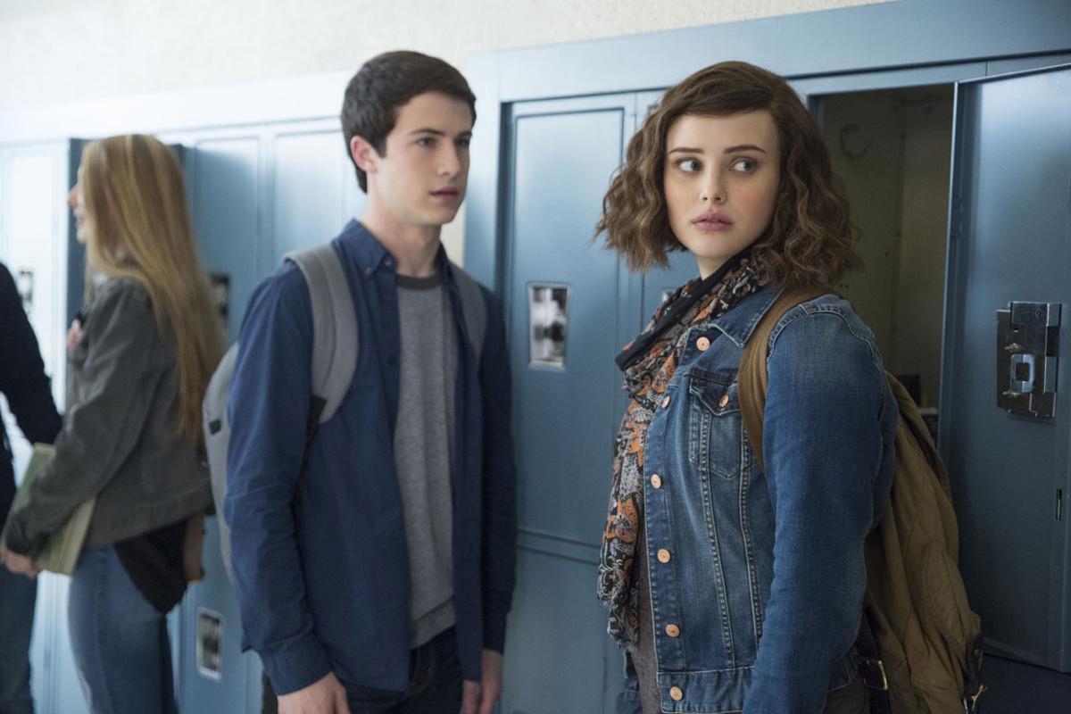 "Dylan Minnette as Clay Jensen and Katherine Langford as Hannah Baker in the Netflix series ""13 Reasons Why."" (Netflix 2017)"