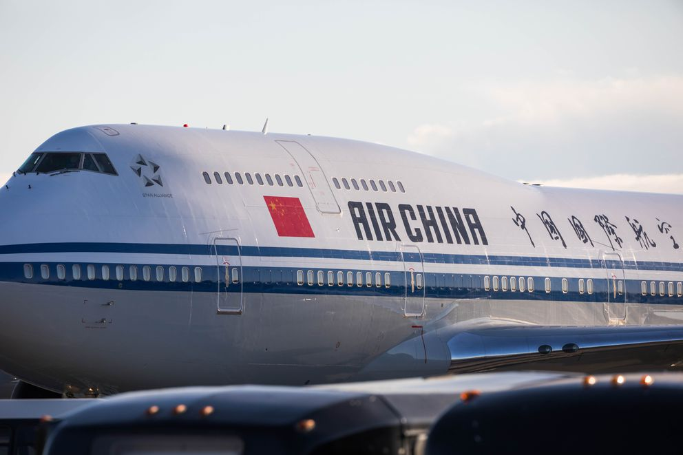 Chinese President Xi Jinping's plane landed in Anchorage at about 6:45 p.m. Friday, April 7, 2017. He is meeting with Gov. Bill Walker and others on his way back to China. (Loren Holmes / Alaska Dispatch News)