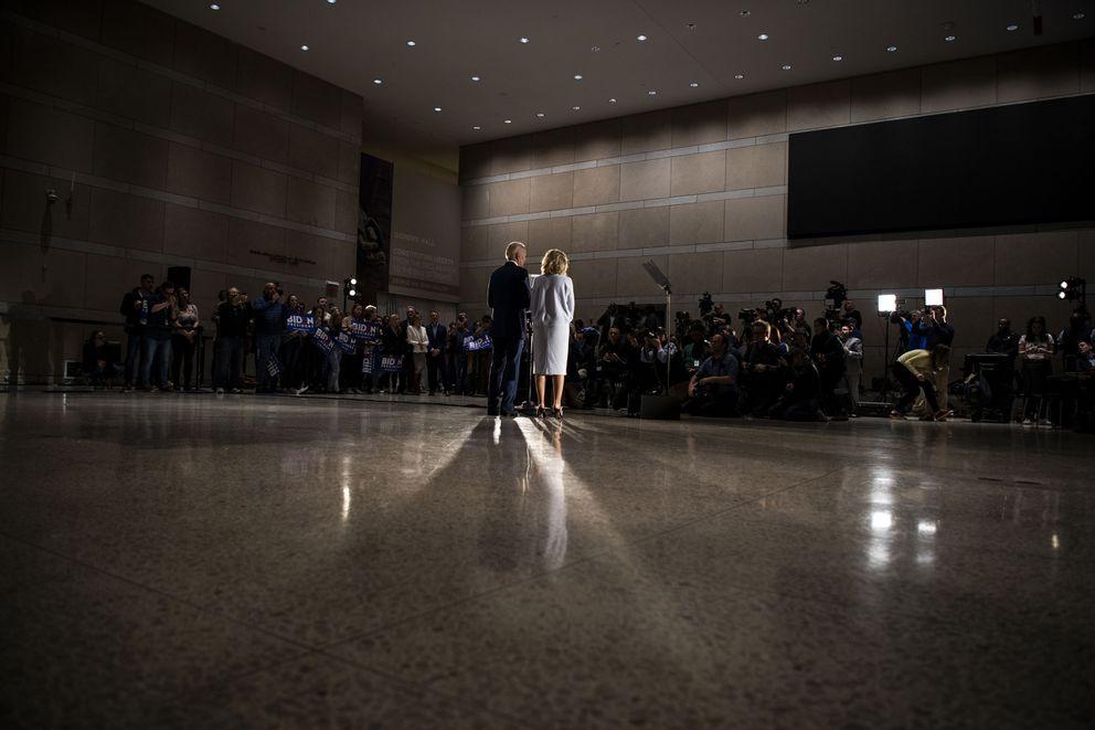 Joe Biden speaks with Jill Biden at his side at the National Constitution Center in Philadelphia on March 10, 2020. Washington Post photo by Carolyn Van Houten
