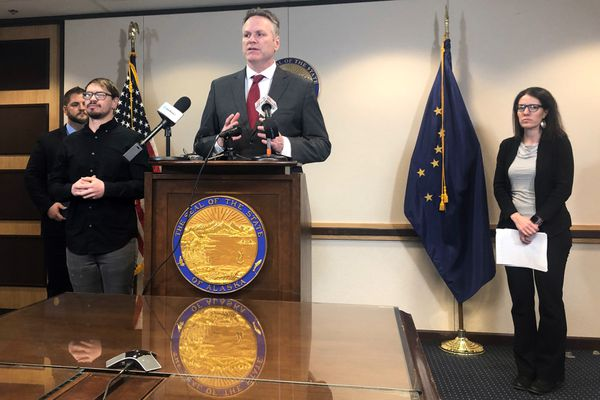 Governor Mike Dunleavy announced an emergency declaration amid coronavirus concerns in Alaska, Wednesday March 11, 2020, which he said will open up access to federal funds in order to better deal with the disease. (Morgan Krakow / ADN)