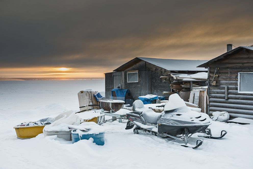 A shack on the edge of Great Bear Lake in Deline, a village near the Arctic Circle in Canada's Northwest Territories, Nov. 29, 2016. (Christopher Miller/The New York Times)