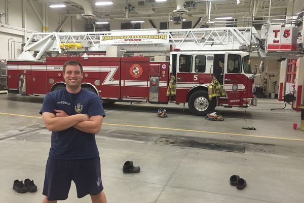 Ben Schultz at Anchorage Fire Station 5. (Photo provided by Jeff Schultz)