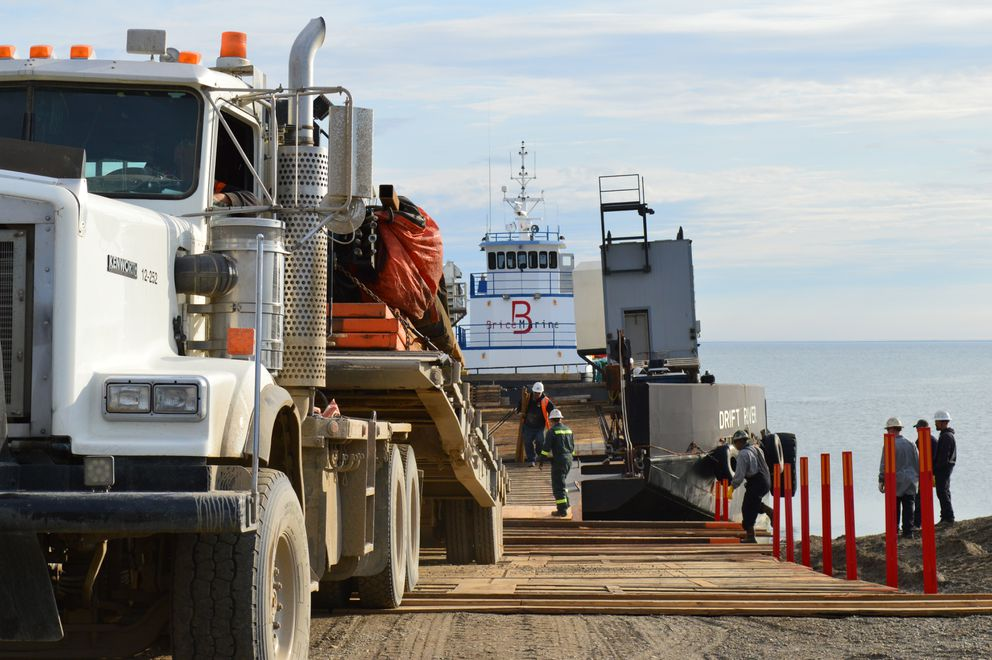 Brice Marine, a partner in Calista Corp.'s new maritime apprenticeship program, unloads material on the North Slope in 2016. It's one of several new apprenticeship programs launching in Alaska. (Courtesy Brice Marine)