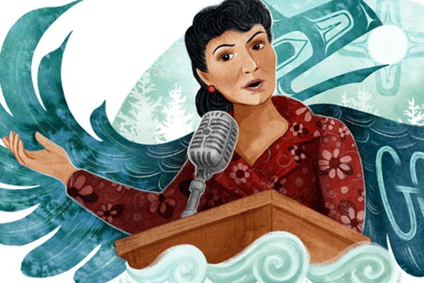 An illustration of Alaska Native civil rights leader Elizabeth Peratrovich created by Tlingit artist Michaela Goade of Sitka is the featured Google Doodle on Wednesday, Dec. 30, 2020. (Screengrab)