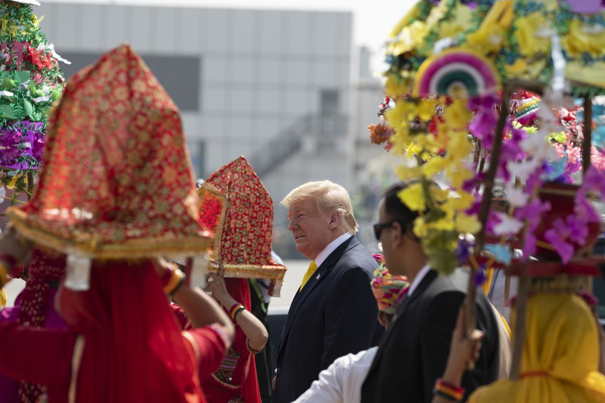 U.S. President Donald Trump receives a traditional welcome upon arrival at Sardar Vallabhbhai Patel International Airport, Monday, Feb. 24, 2020, in Ahmedabad, India. (AP Photo/Alex Brandon)