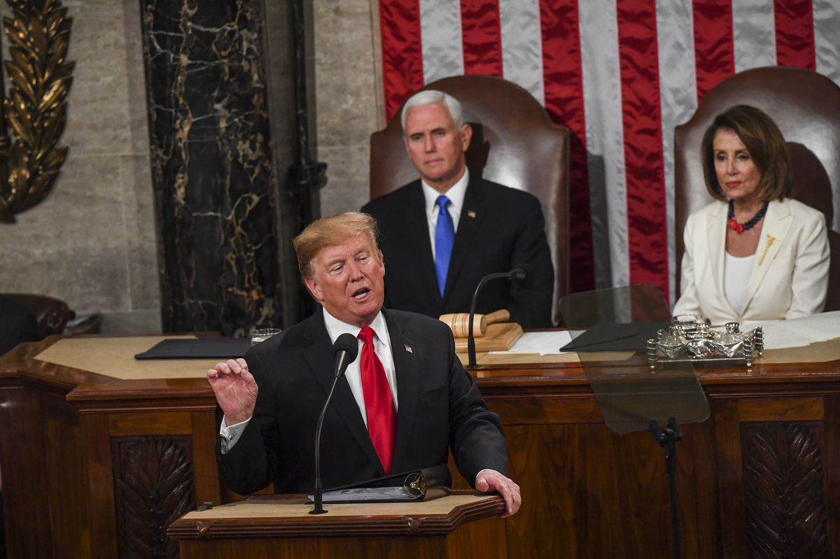 President Trump, in front of Vice President Pence and House Speaker Nancy Pelosi, D-Calif., delivers his State of the Union address before members of Congress on Feb 5, 2019. (Washington Post photo by Toni L. Sandys)