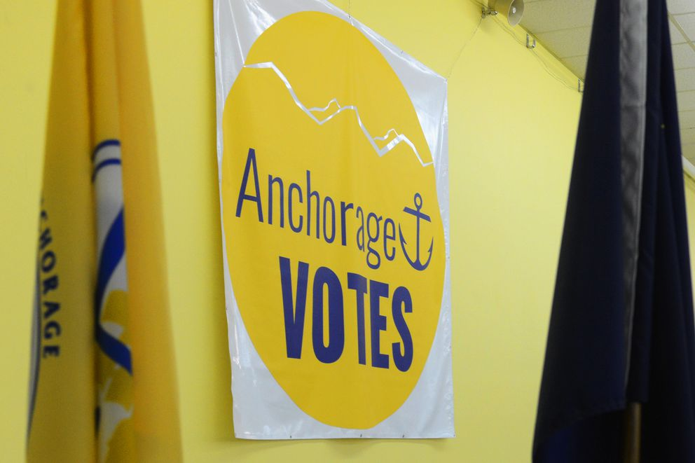 A giant Anchorage Votes banner hangs at the new municipal election center on Monday, April 3, 2017, at Ship Creek. (Erik Hill / Alaska Dispatch News)