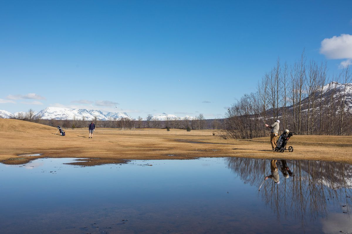 Derek O'Neill hits the ball onto the green at the Palmer Golf Course on Friday, March 29, 2019. The course opened Friday with 12 of 18 holes, and golfers are not allowed to use carts until the course dries out. (Loren Holmes / ADN)