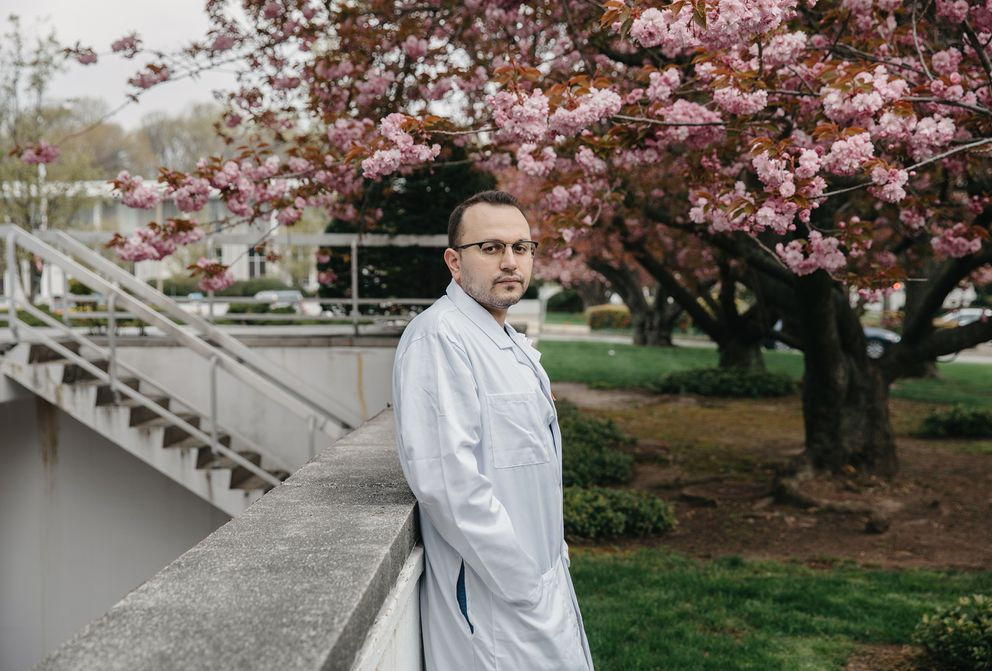 New York doctor Anar Yukhayev was close to dying of covid-19 when he enrolled in a clinical trial for an untested treatment at the same Long Island hospital where he delivers babies. (Photo for The Washington Post by Celeste Sloman)