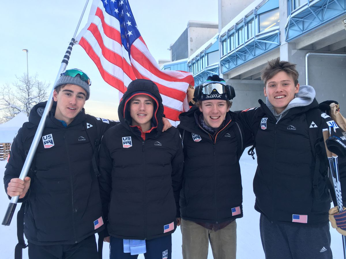 From left, Johnny Hagenbuch, Gus Schumacher, Ben Ogden and Luke Jager, Americans who finished in the top 20 of the 30K classic at the World Junior Championships in Lahti, Finland, Jan. 24, 2019. (Photo by Amy Schumacher)